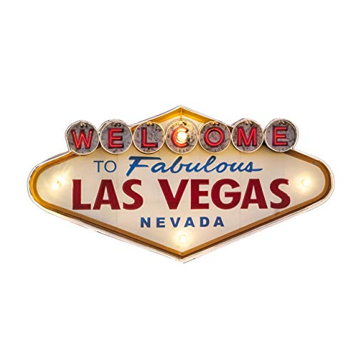 Bey-Berk Welcome to Las Vegas Led Lit Metal Wall Décor