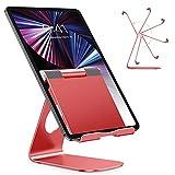 OMOTON Soporte Tablet Ajustable, Multi-Ángulo Base Tablet de Aluminio para iPad Pro 10.5/9.7/12.9/10.2, iPad Mini 2/3/4/5, iPad Air/Air 2, Samsung Tab, Kindle y Otras Tabletas de 7~13 Pulgadas, Rojo