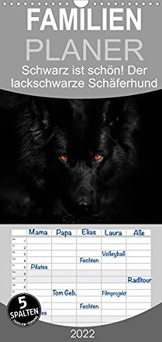 Schwarz ist schön! Der lackschwarze altdeutsche Schäferhund - Familienplaner hoch (Wandkalender 2022, 21 cm x 45 cm, hoch)