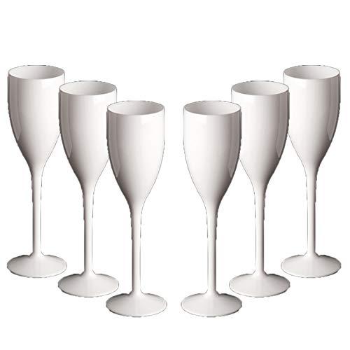 Set van witte champagne bril onbreekbare herbruikbare polycarbonaat kunststof bril realistische alternatief voor glas (15cl tot velg hoogte 202mm, Max diameter 53mm Kleur: wit
