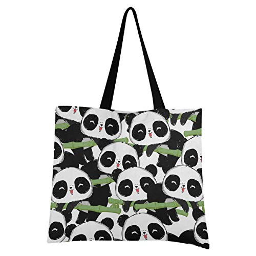 XIXIXIKO - Bolso de bambú para mujer, diseño de panda de animales, ligero, para playa, bolsa de hombro, resistente para mujeres, niñas, compras, gimnasio, playa, viajes diarios