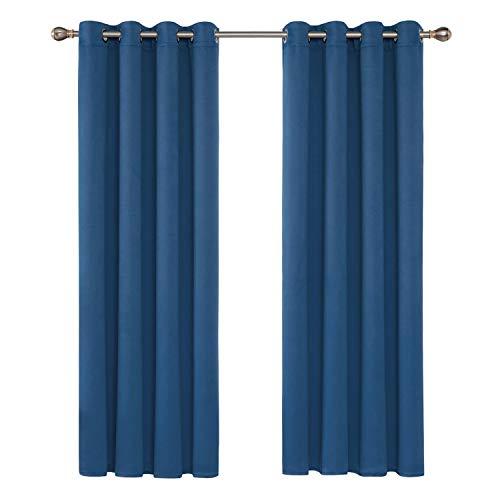 Deconovo Verdunkelungsgardinen mit Ösen Vorhang Verdunkelung Gardinen Wphnzimmer 175x140 cm Blau 2er Set
