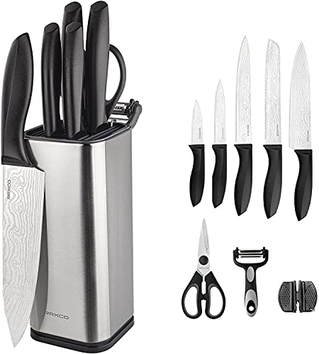 Kitchen Knife Sets with Block and Knives,10 Pieces Set with Utensil Knife Storage Holder,5pcs Stainless Steel Chef Knives with Scissors-Knife Sharpener- Universal Knives Set