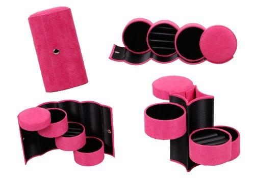 Bundle Monster Zusammenklappbares, 3-stufiges Mini-Samtschmuckkaestchen, platzsparend fuer zuhause und ideal als Reiseschmucketui - Rosa