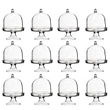 NUOBESTY Mini Cake Stand - 24-Pack Mini Cake Plate with Stand and Dome Cover,Single Cupcake Stand Party Favor