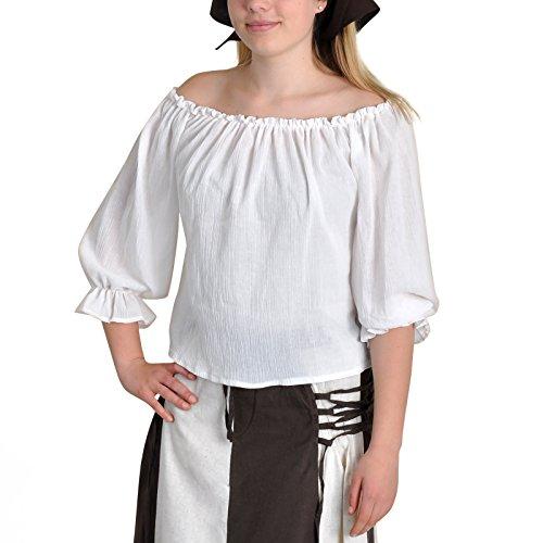 Limit Sport Mascarada NC030 S - Mittelalter-/Piraten-Bluse Kostüm, Größe S, weiß