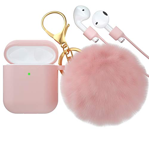 CTYBB for Airpod Case,Silicone Airpods Case Cover with Fur Ball Keychain Compatible with Apple Airpods 2/1 (Front LED Visible) Light Pink