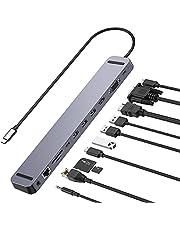 USB C ハブ 11-in-1 【33cmケーブル】 MacBook Pro ハブ LAN RJ45/3ポート5Gbps usb3.0/USB C 5Gbps /4K HDMI/VGA 60HZ/100W出力 PD対応USB-Cポート/超高速TF /SDカードリーダー/3.5mm ジャックアルミ製 Type c ハブ 4Kドッキングステーション MacBook Air HUB MacBook Pro, MacBook Air ChromeBook, Dell XPS, Surface Go/Surface Pro 7/surface XBook 2等対応