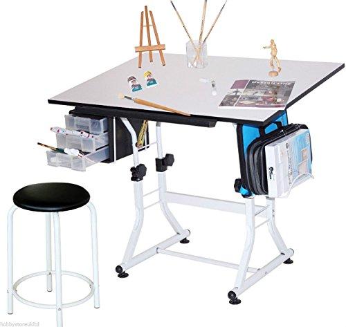 A1-Tavolo da disegno e Sgabello regolabile per disegno tecnico, con cavalletto
