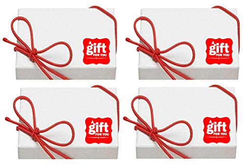 Cakesupplyshop 5pack White Necklace Jewelry Gift Boxes with Filler and Red Bow Strings 3.5x3.5x1