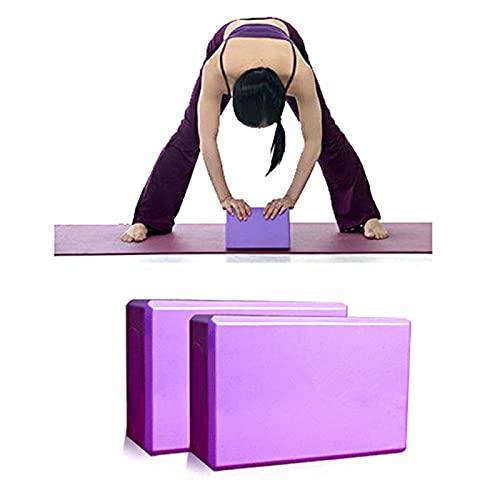 WanuigH Bloques de Yoga 2 unids Yoga Pilates EVA Bloque Ladrillos Hogar Herramienta de Ejercicio Ayuda de Estiramiento (púrpura) Fácil de Practicar (Color : Purple, Size : 23x15x8cm)