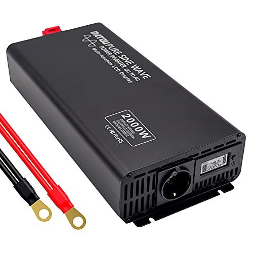 Inverter Onda Pura 2000w 48v Power Inverter 220v Peak 4000W Invertitore di Tensione Fotovoltaico, Convertitore con Display a colori LED per Camper Trasformatore Sinusoidale Pura
