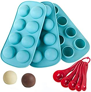 Webake Silicone Chocolate Candy Molds, Round Sphere Baking Molds for Cordial Truffle, Jello Pudding Ball Ice Cube Peanut Butter, Set of 3, Bonus Filling Scoop Set