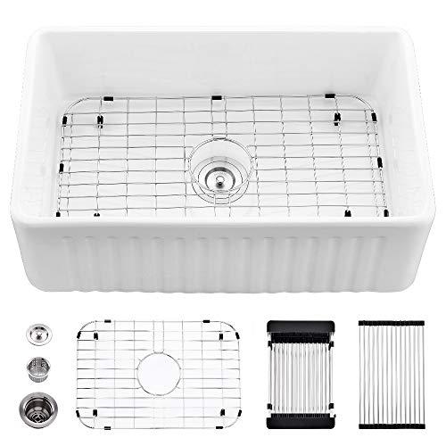 30 Farmhouse Sink White-VASOYO 30 Inch Kitchen Sink White Apron Front Ceramic Porcelain Single Bowl Reversible Fireclay Farm Sink