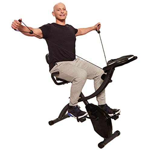 As Seen On TV Slim Cycle Stationary Bike - Folding Indoor Exercise Bike with Arm Resistance Bands and Heart Monitor - Perfect Home Exercise Machine for Cardio