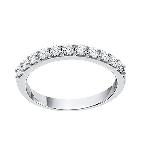 KATARINA Anillo de boda redondo con diamantes engastados en oro de 14 quilates (1/2 quilates, G-H, I2-I3)