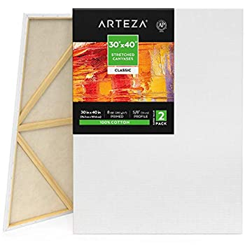Arteza Stretched Canvas Pack of 2 30 x 40 Inches Blank White Canvases 100% Cotton 8 oz Gesso-Primed Art Supplies for Acrylic Pouring and Oil Painting