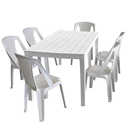 Progarden Tavolo da giardino Sumatra, effetto legno, in plastica, da 138 x 78 cm, con 6 sedie impilabili Procida, di colore bianco
