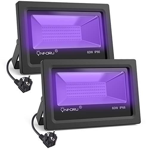 Onforu 2 Pezzi 60W Faretto UV LED da Esterno Luce Nera, Ultravioletto Blacklight, IP66 Impermeabile, Fari Esterno per Feste Bar Club KTV Discoteca