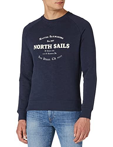 NORTH SAILS Round Neck W/Graphic Pullover, Blue Navy, Medium Uomo