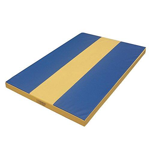 NiroSport Turnmatte «Stripe» 100 x 100 x 8 cm Gymnastikmatte Weichbodenmatte Fitnessmatte Sportmatte Trainingsmatte Blau/Gelb Wasserdicht