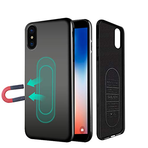Case for iPhone X/XS,Ultra Thin Magnetic Phone Case for Magnet Car Phone Holder with Invisible Built-in Metal Plate,Soft TPU Shockproof Anti-Scratch Protective Cover for iPhone X/XS 5.8''[Black]