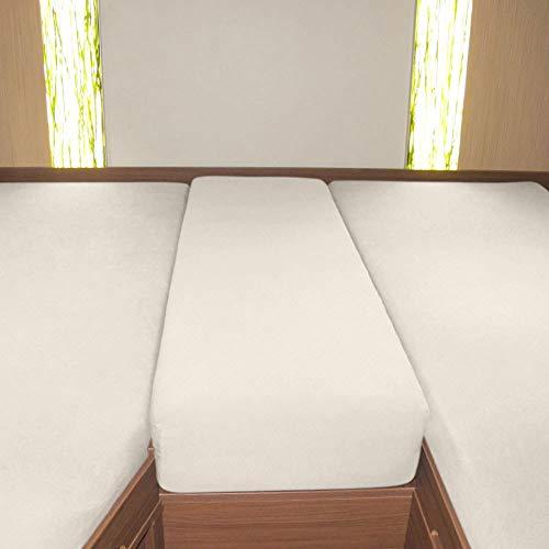 G Bettwarenshop Wohnmobil Wohnwagen Heckbett Spannbetttuch-Set 3-teilig Sand, 2 Längsbetten + Mittelteil