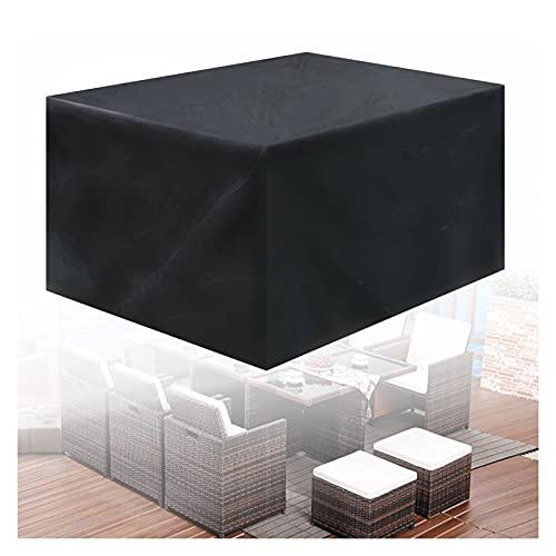 ASPZQ Cubierta Muebles Patio, Fundas de Sofá, Jardín Impermeable Cubierta del Banco Salón, A Prueba de Polvo Y Viento con Cordón Personalizable (Color : Negro, Size : 140×140×90cm)