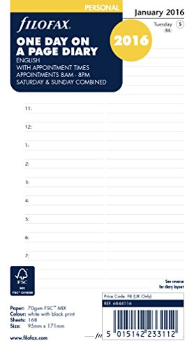 Filofax Personal Day Per Page English Appointments Diary For 2016