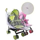 Baby Moskitonetz Kinderwagen-Moskitonetz Mosquito-Netzgewebe mit voller Abdeckung und Netzgeflecht-Insektennetz Schutznetz für Zwillingswagen Doppel-Kinderwagen Weiß