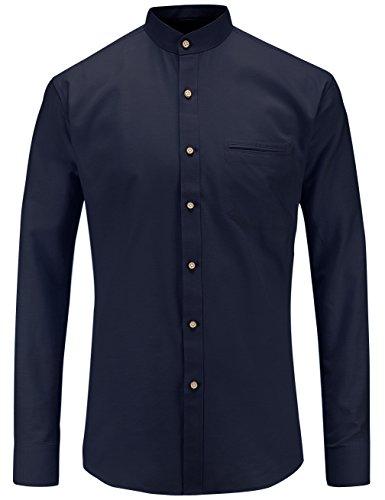 JEETOO Herren Langarm Oxford Hemd Modell Slim Fit Stehkragen Bügelleicht(Navy,L)