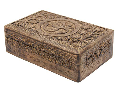 KayJayStyles Hand Carved OM Wooden Storage Box (Large, Om)