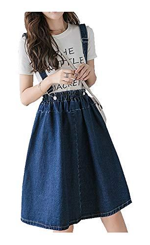 CYSTYLE Damen Mädchen A-line Träger Mini Plissiert Trägerrock hosenträger Rock Jeans Rock Latzkleid (Blau, 36)