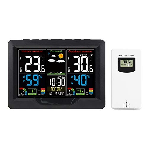COZHYESS Estación meteorológica Inalámbrico Digital Termómetro para Exteriores Higrómetro con Alarma Reloj Temperatura Humedad Monitor con Sensor al Aire Libre, Pantalla Colorida (Negro)