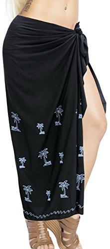 LA LEELA Damen Bikini Sarong Strandkleid Stickerei Pareo Badeanzug Cover Up Strandtuch Sommer Wickelrock Schwarz_V372 Einheitsgröße