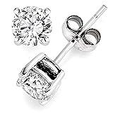 925 Sterling Silver 1.5 tcw Basket Setting 6MM Clear Round CZ Cubic Zirconia Nickel Free Stud Earrings