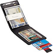 Travelambo Mens RFID Blocking Front Pocket Minimalist Slim Wallet With Pull Tab Money Clip