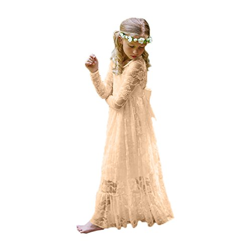 Fancy Lace Flower Girl Dress Boho Rustic First Communion Gowns(Size 12,Champagne)
