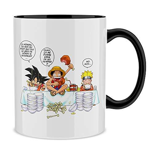 Okiwoki Mug avec Anse et intérieur de Couleur (Noir) - Parodie DBZ, One Piece et Naruto - Sangoku, Naruto et Luffy - La Recette d'un Bon Manga : (Mug de qualité supérieure - imprimé en France)