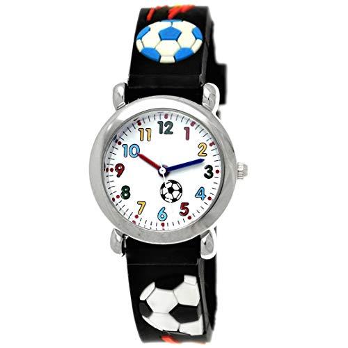 Pure Time® Kinder-Uhr Mädchen-Uhr Jungen-Uhr Kinder Mädchen Jungen Silikon Kautschuk Armband-Uhr Uhr mit Fußball Soccer Kicker Motiv Schwarz Rot Blau Bunt