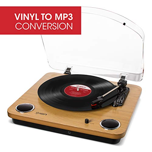 ION Audio Max LP – Vinyl Record Player / Turntable with Built In Speakers, USB Output for Conversion and Three Playback Speeds – Natural Wood Finish