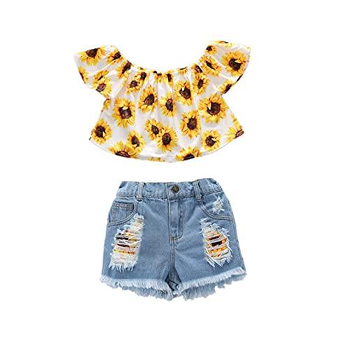 Mercatoo Roupas infantis para meninas de verão com manga voada tie-dye + shorts jeans rasgados roupas de 1 a 6 anos