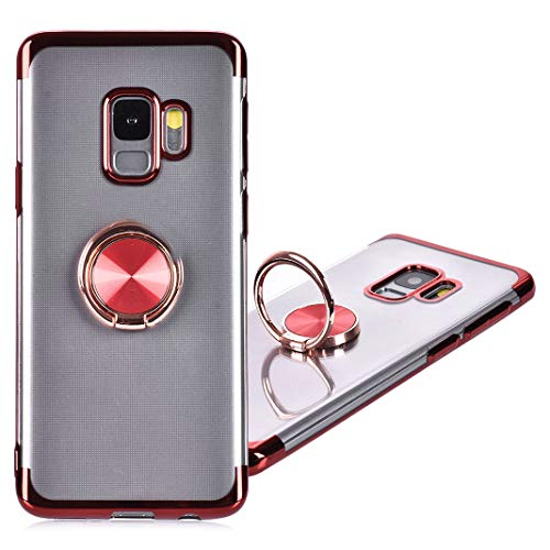 Coque Galaxy S9 Transparente Silicone, Galaxy S9 Etui Anneau avec 360 Degrés de Rotation Bague Support Magnétique Case Cover Ultra Mince TPU Souple Anti-Choc Anti-Scratch Étui pour Samsung Galaxy S9