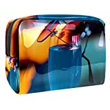 TIZORAX - Bolsa de maquillaje de PVC para mujer, diseño de encantadora, color azul