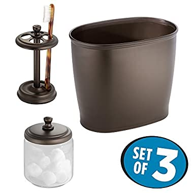 mDesign Glass Apothecary Jar, Toothbrush Holder Stand, Wastebasket Trash Can for Bathroom, 3 pc Set - Clear/Bronze