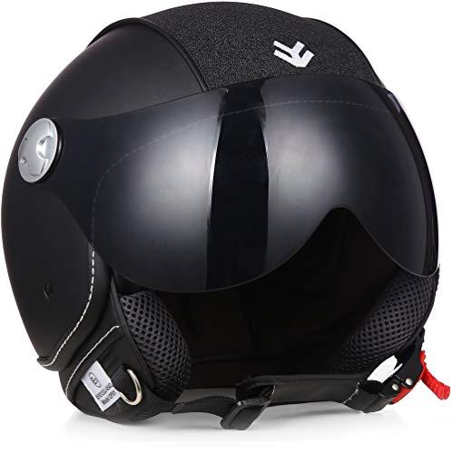 "Armor · AV-84 Pure ""Glitter"" · Casco moto Demi Jet · Scooter Helmet Retro motocicleta Urbano Urban · ECE certificado · Visor · Exclusive Leather-Design · Click-n-Secure™ Clip · L (59-60cm)"
