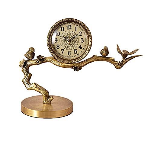 HGVVNM Nuevo estilo chino Adornos de latón relojes de escritorio sala de estar decoración relojes y relojes Inicio TV Gabinete Relojes