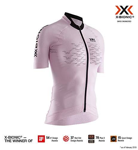X-Bionic Damen The Trick 4.0 Bike Zip Shirt Short Sleeve Women, Magnolia Purple/Opal Black, S