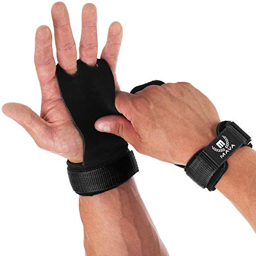 Mava Sports Leather Hand Grips with Wrist Support - Perfect Palm Protection Glove for Crossfit, Gymnastics, Pull ups, WOD, Deadlifts, Gym Workout, Kettlebell and Weightlifting for Men and Women