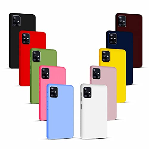 NUDGE 10X Cover per Samsung Galaxy A51(4G), Custodia Tinta Unita Silicone Morbido TPU, Case Ultra Sottile AntiGraffio e Antiurto-10 Colori